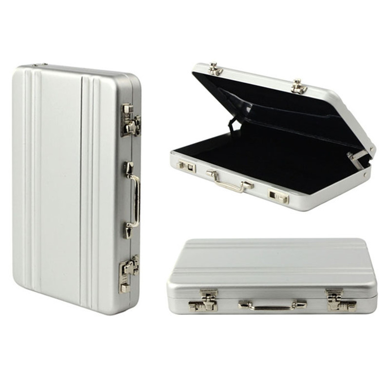 Mini Aluminum Safe Suitcase Briefcase Business Credit Bank Card Holder Box Case SILVER