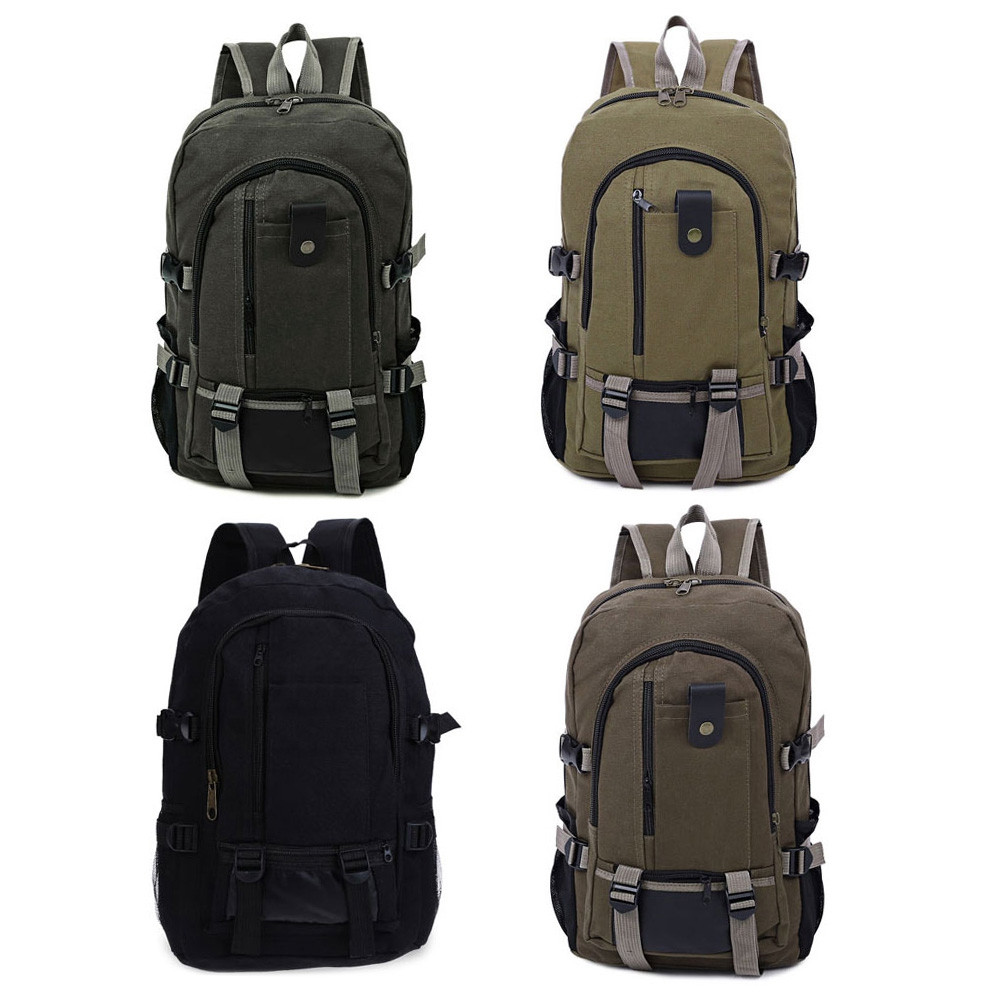 Canvas Zipper Ladder Lock Outdoor Activity Portable Backpack for Men BLACK VERTICAL