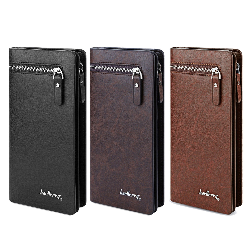 Baellerry Solid Color Cell Phone Money Photo Card Clutch Wallet for Men DARK COFFEE VERTICAL