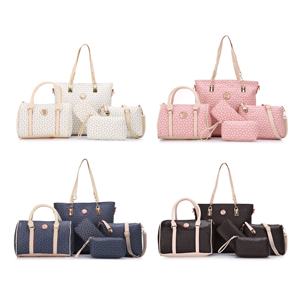 Geometric Tote Handbag 5Pc Set PINK