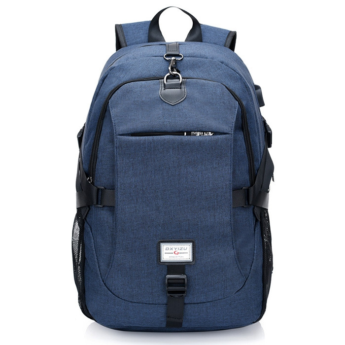 Casual Durable Canvas Backpack with USB Port for Men BLUE