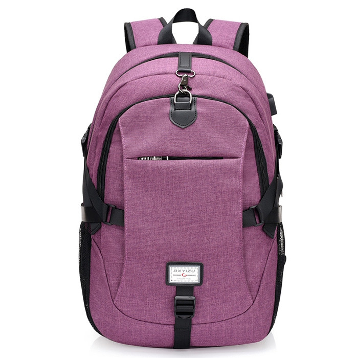 Casual Durable Canvas Backpack with USB Port for Men PURPLE