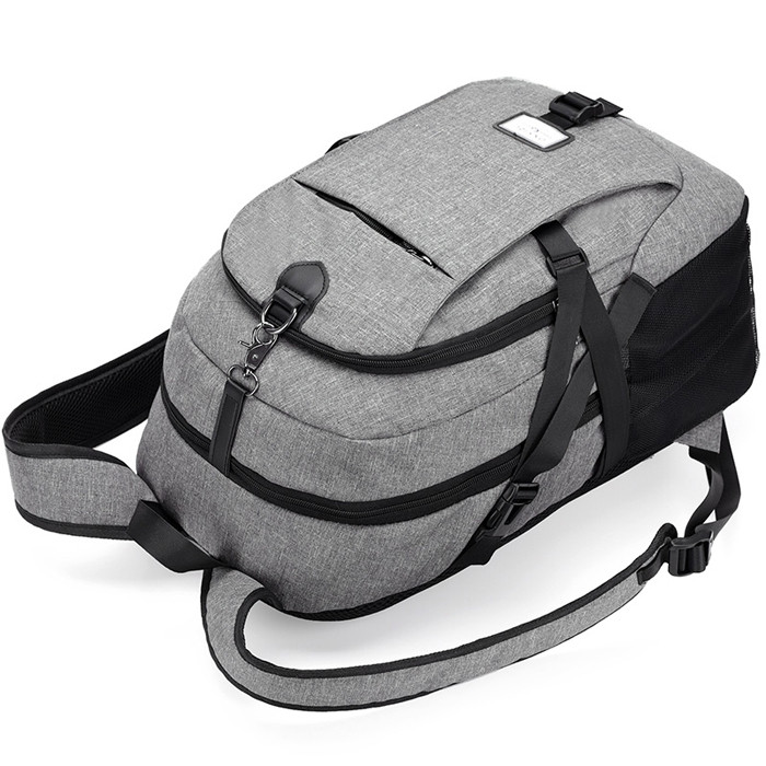 Casual Durable Canvas Backpack with USB Port for Men GRAY
