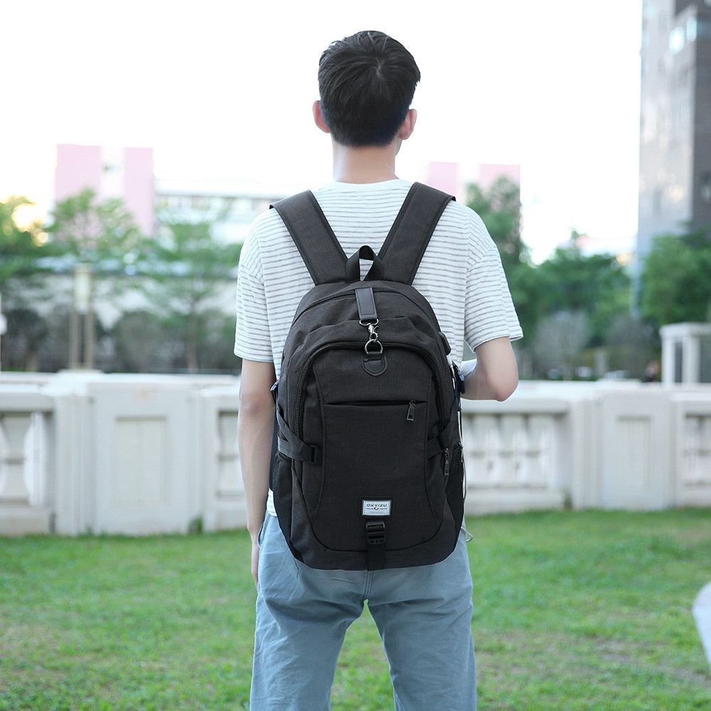 Casual Durable Canvas Backpack with USB Port for Men BLACK