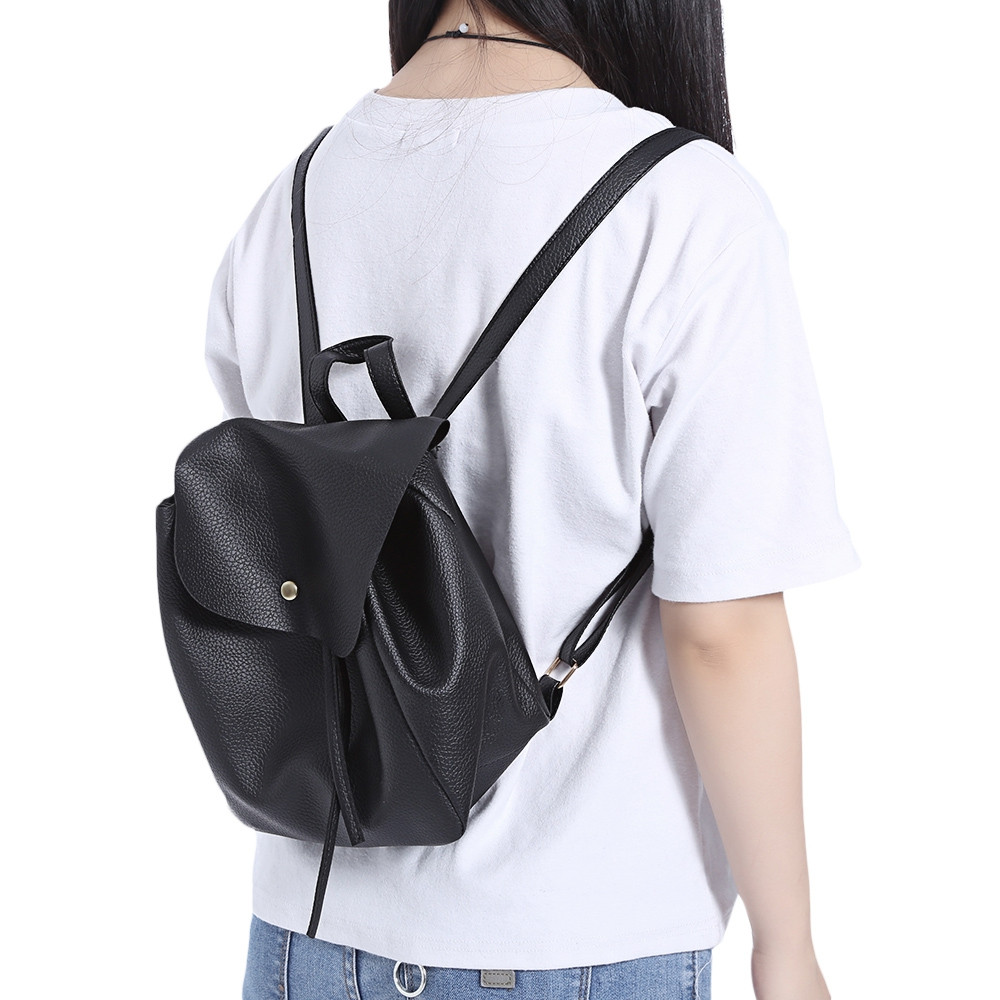 Guapabien Preppy Style Mini Drawstring Backpack for Women BLACK