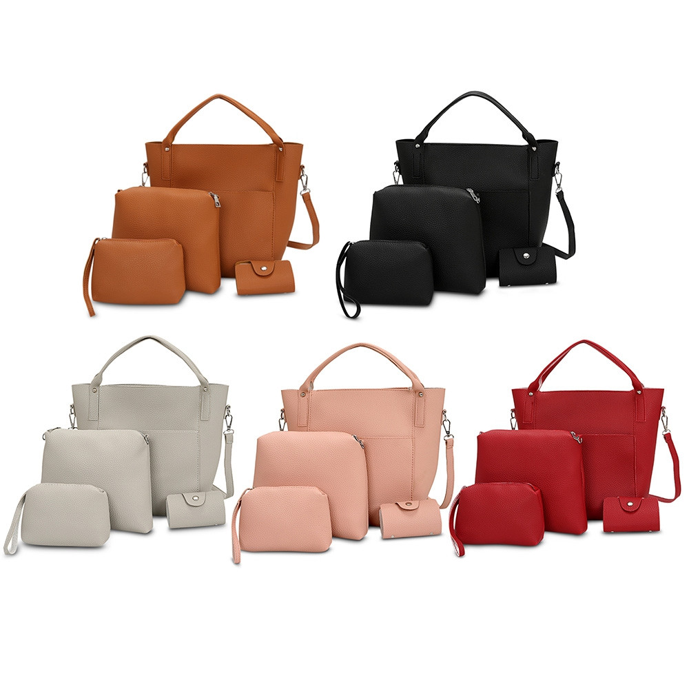 4pcs Women PU Leather Handbag Shoulder Crossbody Bag Wristlet Card Holder RED WINE VERTICAL