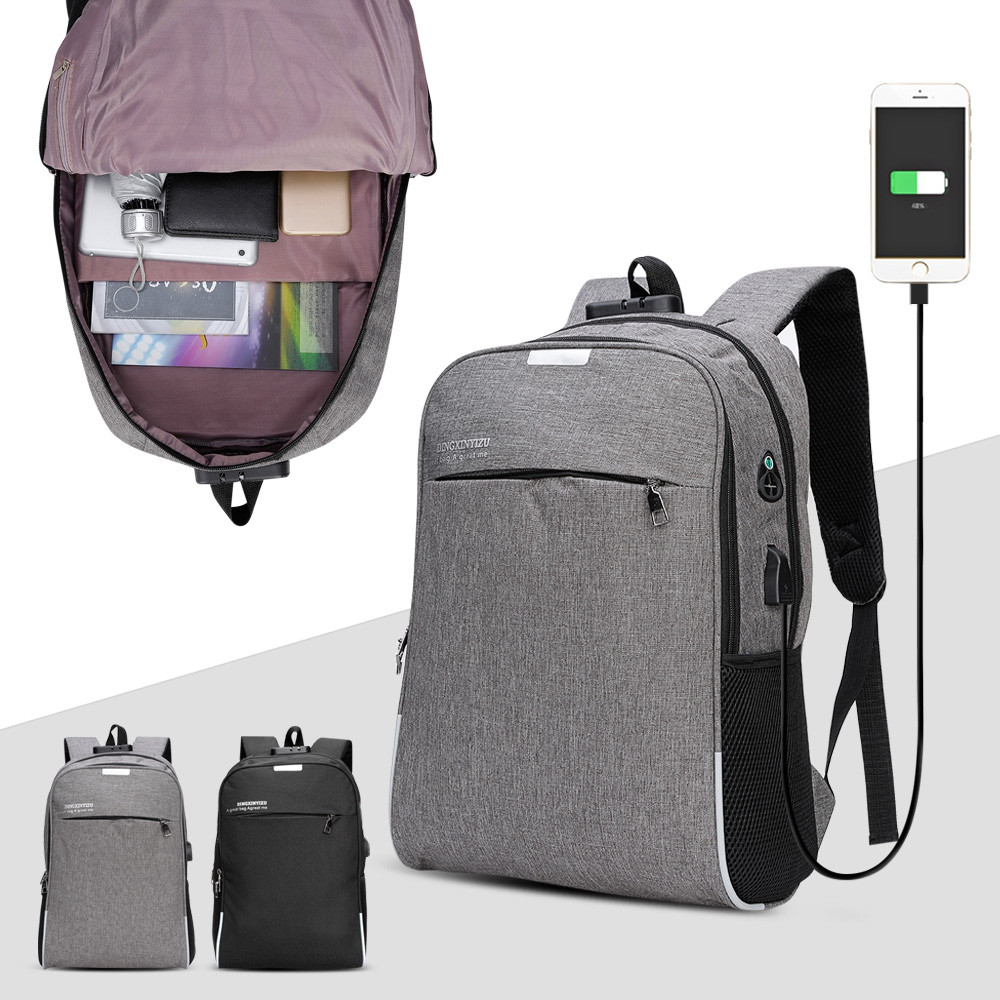 DINGXINYIZU USB Charging Bag Night Reflection Anti-theft Backpack GRAY