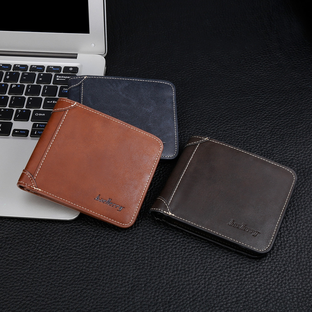 Baellerry PU Leather Men Wallet Coin Pocket Vintage Short Slim Male Money Card Holder BLACK