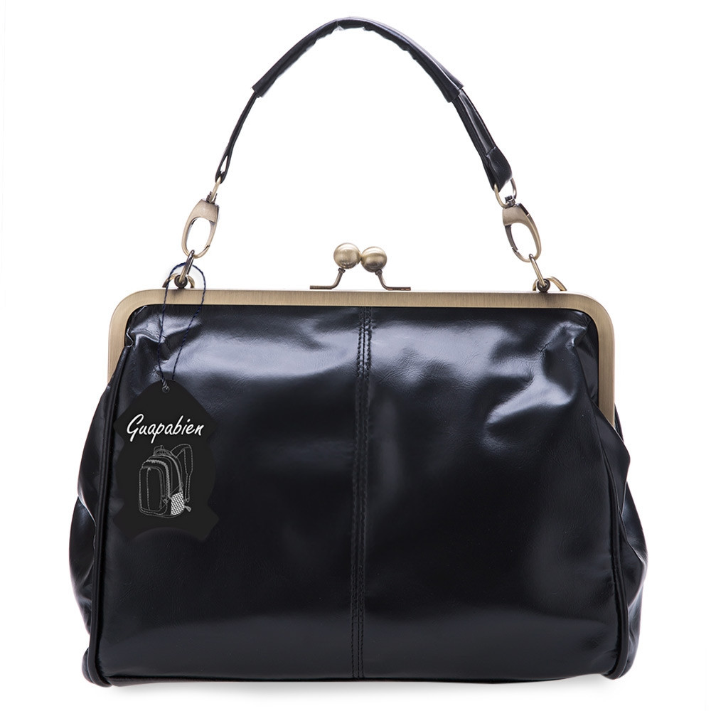 Guapabien Spanish Women Casual Style PU Tote Handbag Vintage Bag with Shoulder Strap BLACK