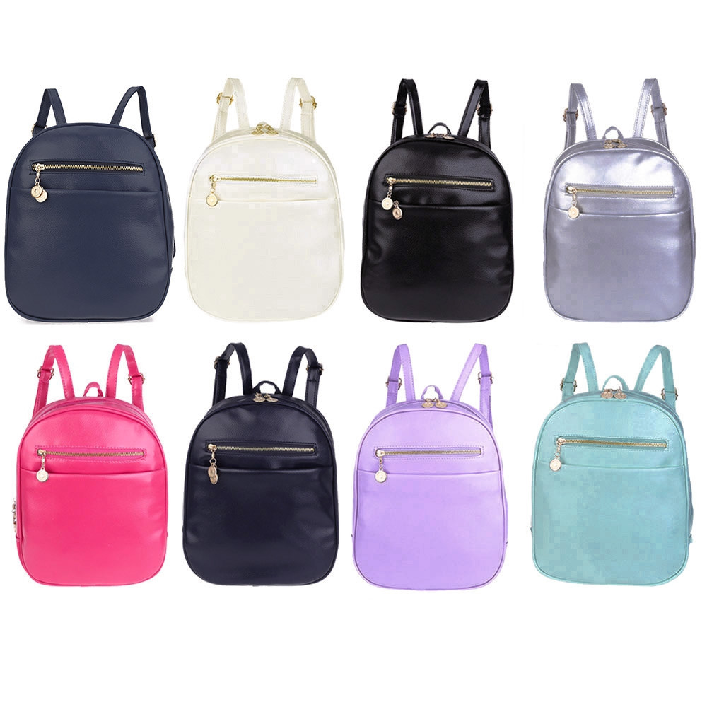 Guapabien Ladder Lock Button Shape Zipper Head Solid Color Portable Bag Backpack for Women ROSE