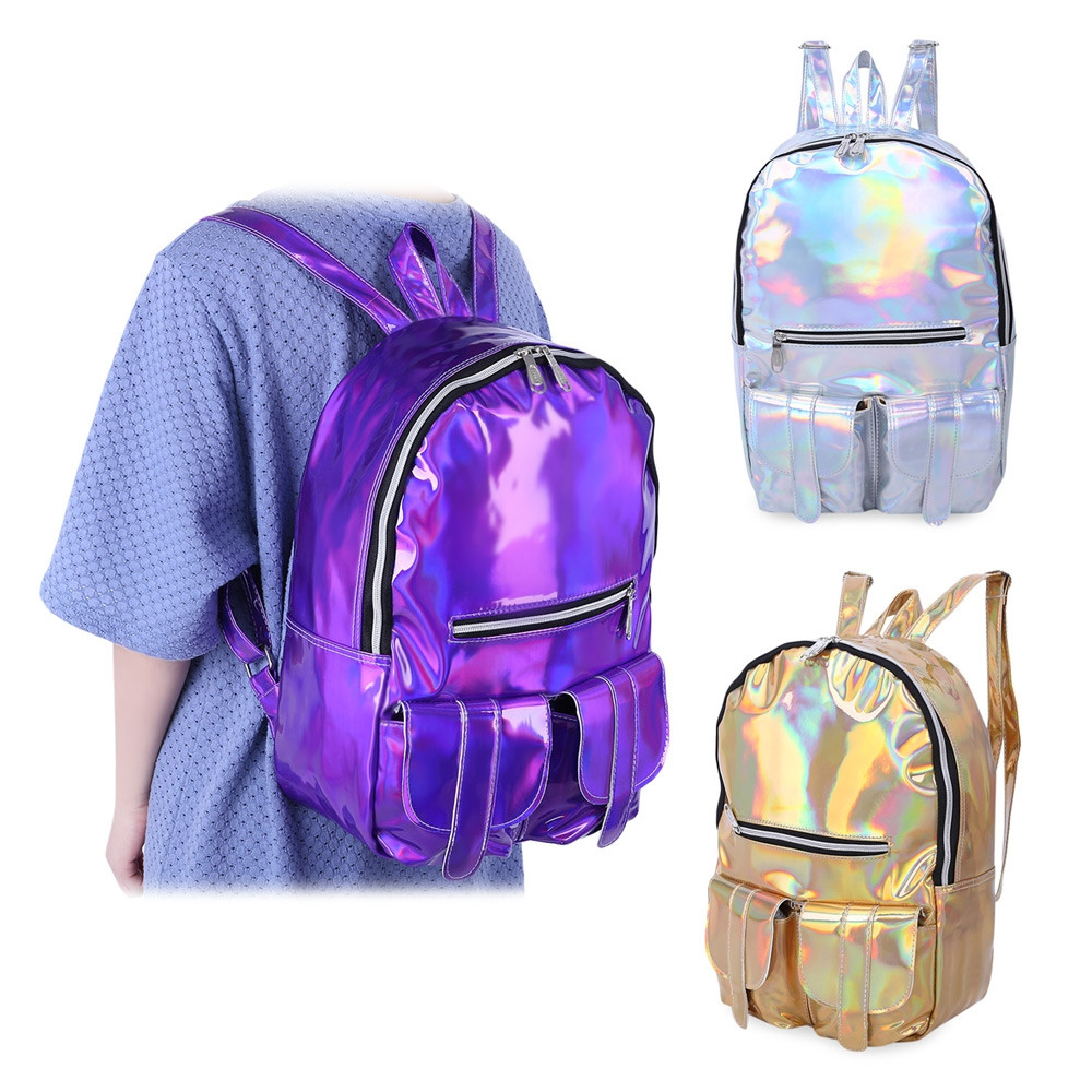 Girl Preppy Style Laser Bag School Travel Shopping Portable Handbag Backpack SILVER VERTICAL