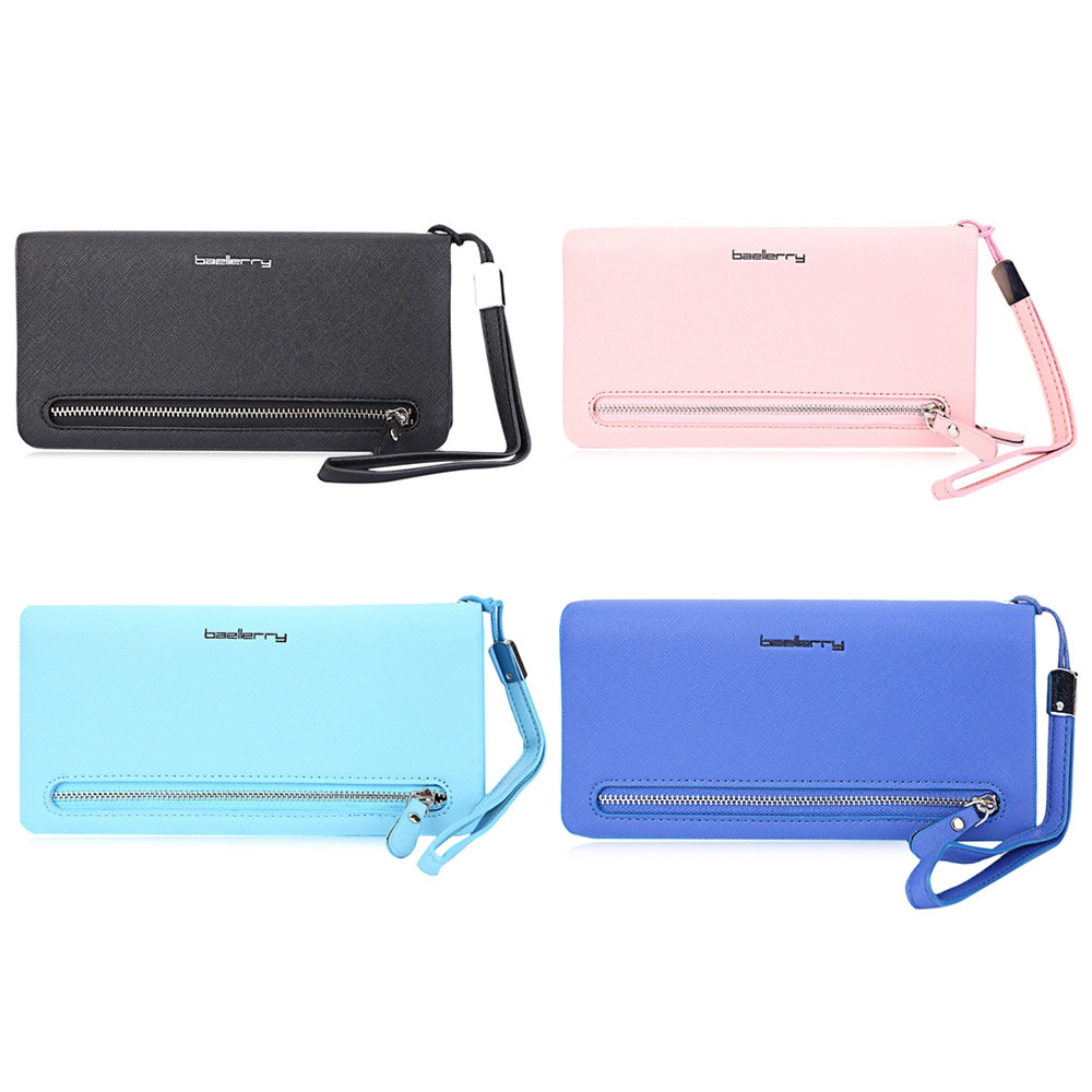 Baellerry Lady Elegant Solid Color Letter Multi-card Bit Wrist Wallet Clutch Card Holder Phone Pocket SAPPHIRE BLUE