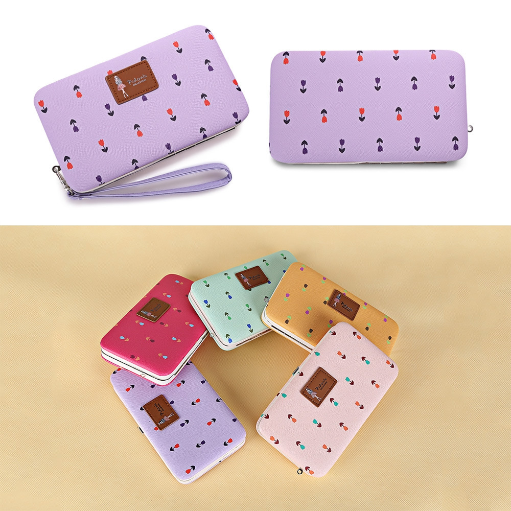 PIDANLU Flower Patterns Multifunction Women Clutch Wallet LIGHT PURPLE