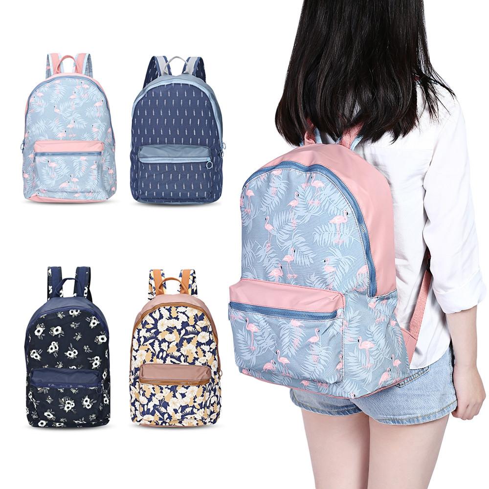 Guapabien Preppy Style Print Travel Backpack Girls School Bag DEEP BLUE LEAF