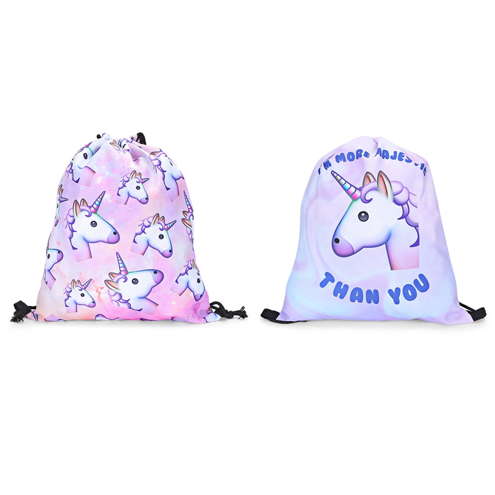 Guapabien Girls 3D Unicorn Print Backpack Drawstring Bag LIGHT PINK