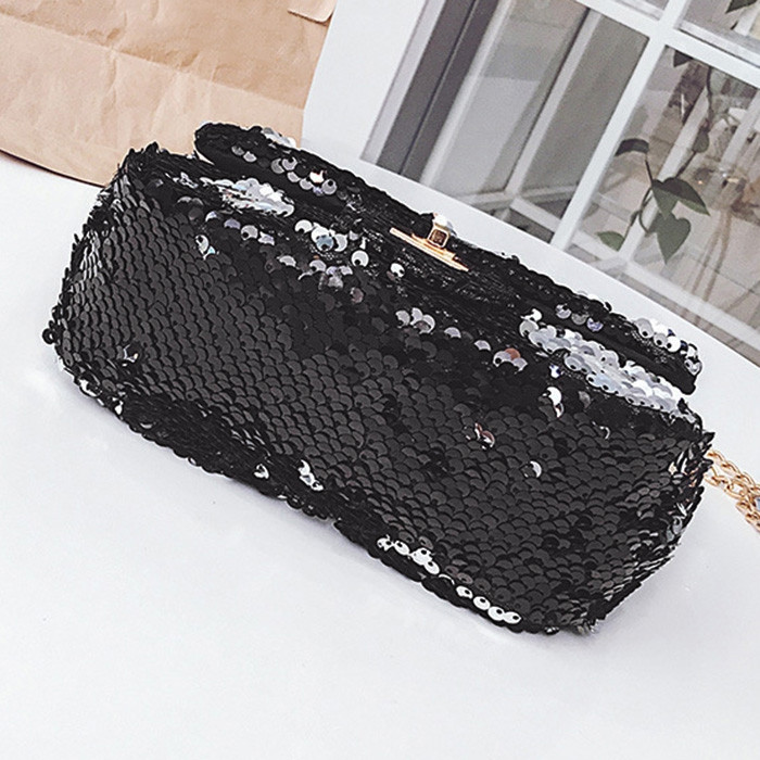 Glitter Chain Crossbody Bag BLACK