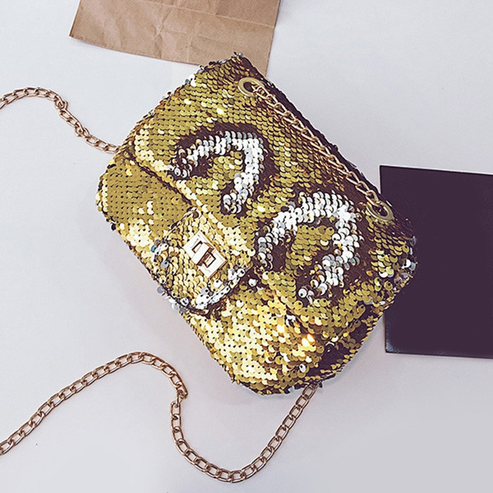 Glitter Chain Crossbody Bag GOLDEN