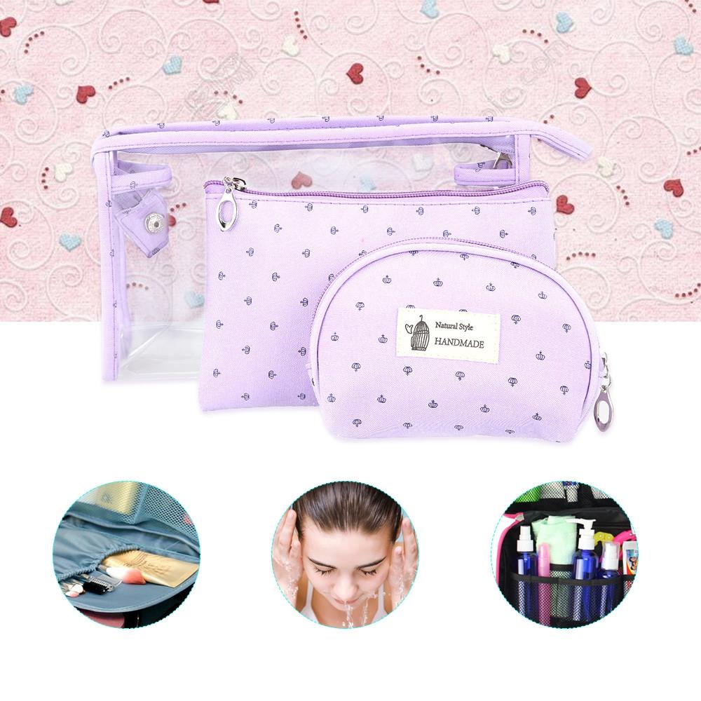 Portable Zipper Closure Travelling Toiletry Bag 3PCS PURPLE