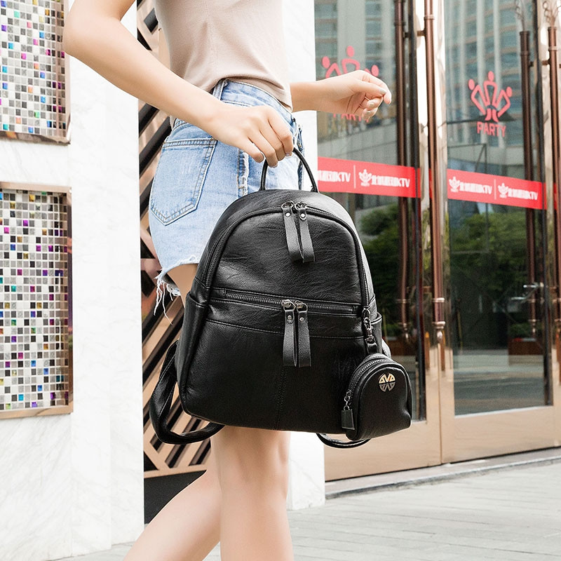 Women's Backpack Solid Color Brief Design Versatile Top Fashion All-match Bag BLACK HORIZONTAL