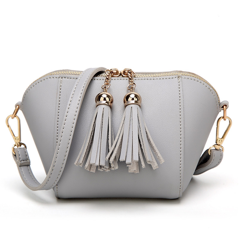 Ladies Casual Double Zipper Bag Crossbody Bag GRAY