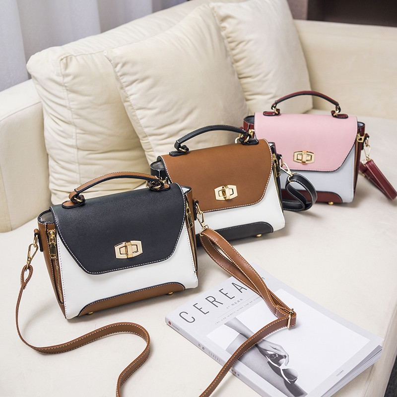 Korean Edition Fashion and Atmosphere Color Lock Clasp Crossbody Bag BLACK