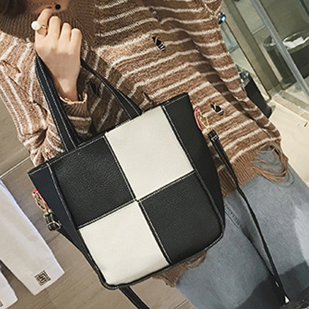 Women's Handbag Color Block All Match Stylish Versatile Bags Set GRAY