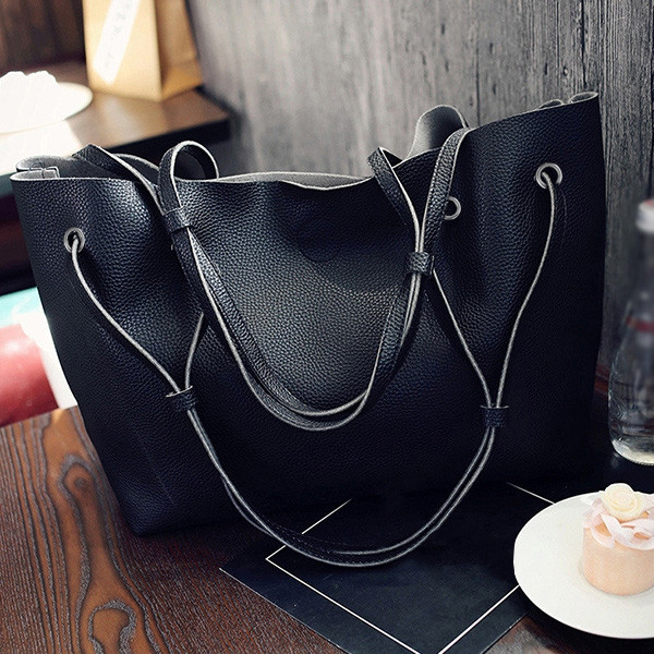 Magnetic Textured Leather Shoulder Bag BLACK