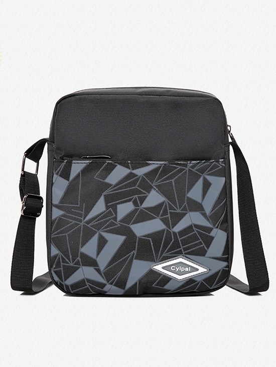 3 Pieces Geometric Pattern School Backpack Set BLACK