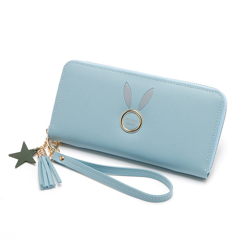 2018 PU Ladies Wallet Long Korean Fashion Rabbit Tassels Star Wallet Zipper Clutch BLUE