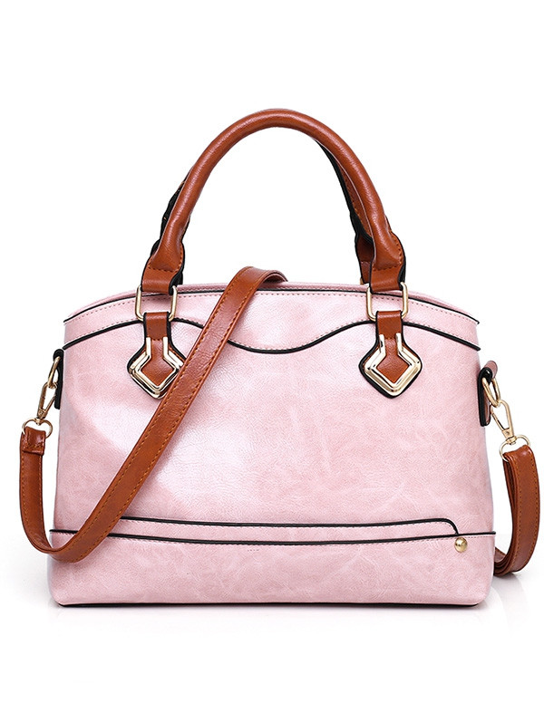 4 Pieces Minimalist Contrasting Color Tote Bag Set PINK