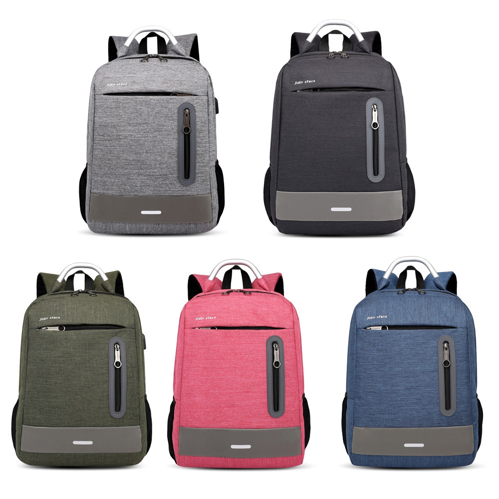 USB Charging Earphone Hole Laptop Backpack Canvas Large Capacity Men Travel Bag BATTLESHIP GRAY