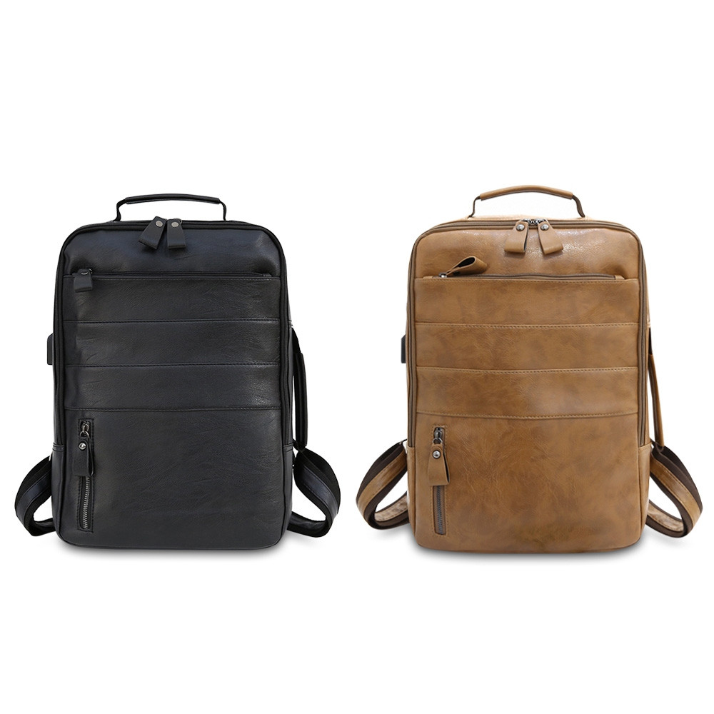 Guapabien USB Charging Men Laptop Backpack Male Travel Soft PU Leather Bag BROWN