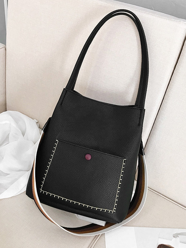 Soild Color Design PU Shoulder Bag BLACK