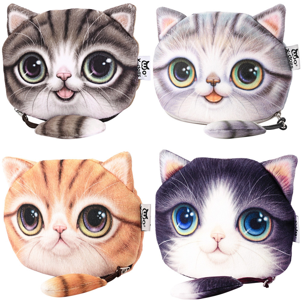 Guapabien Cartoon Cat Zipper Design Workmanship Coin Purse for Ladies PURPLE