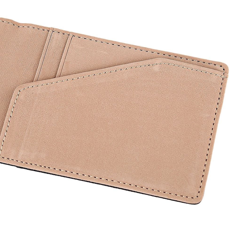 Open Horizontal PU Leather Short Hard Money Clip for Men Women COFFEE VERTICAL
