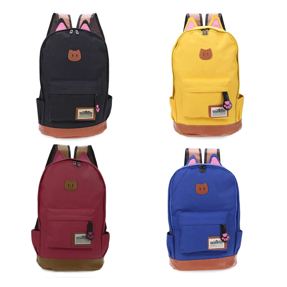 Guapabien Preppy Cat Patchwork Canvas Zipper Backpack BLACK