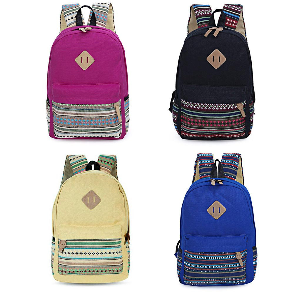 Guapabien Ethnic Style Floral Embroidery Striped Canvas Portable Backpack for Girls ROSE RED