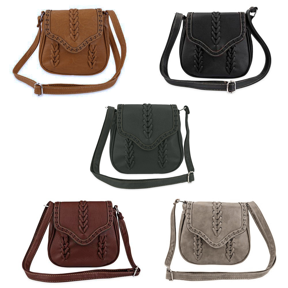 Guapabien Trendy Knitting Diagonal Package Hollow Shoulder Bag for Ladies DEEP BROWN