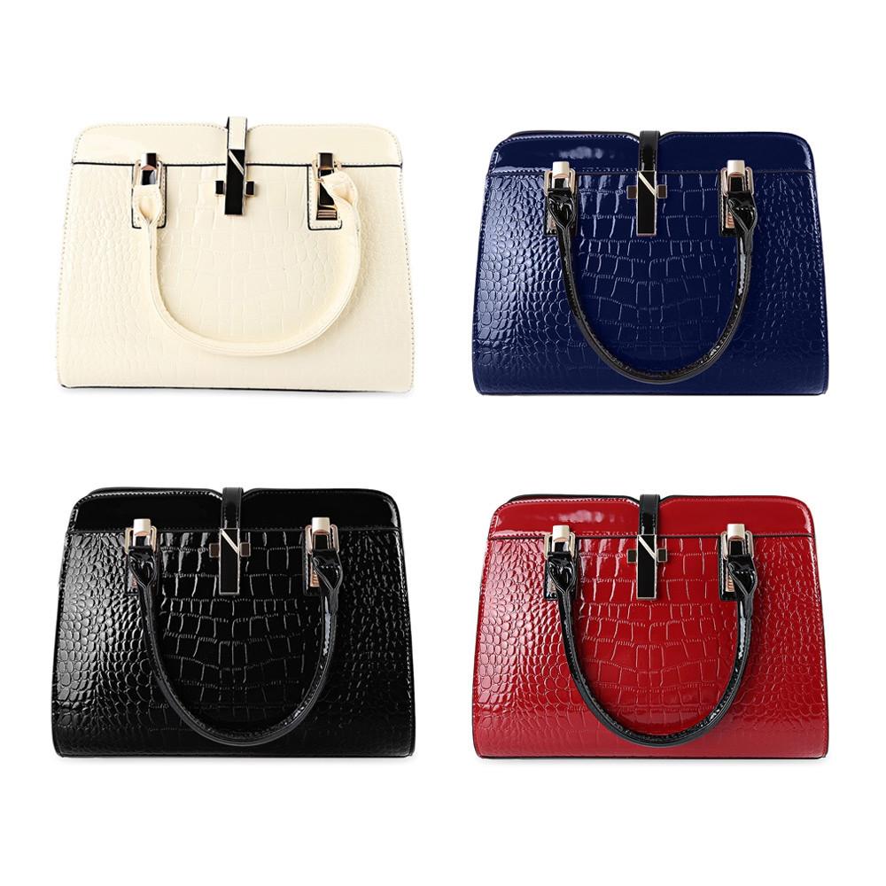 Guapabien Stylish PU Leather Tote Bag for Women BLACK