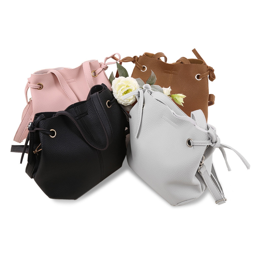 Guapabien Solid Color Shoulder Tote Bucket Bag Clutch Pocket BLACK