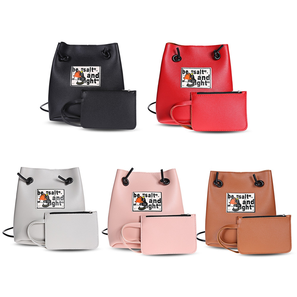 Guapabien Stylish Shoulder Crossbody Bucket Bag for Women PINK