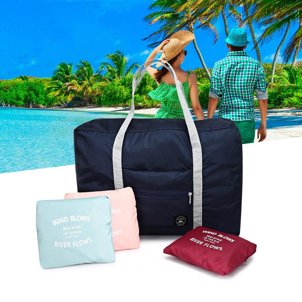 Large Capacity Folding Water Resistant Travel Bag BLUE