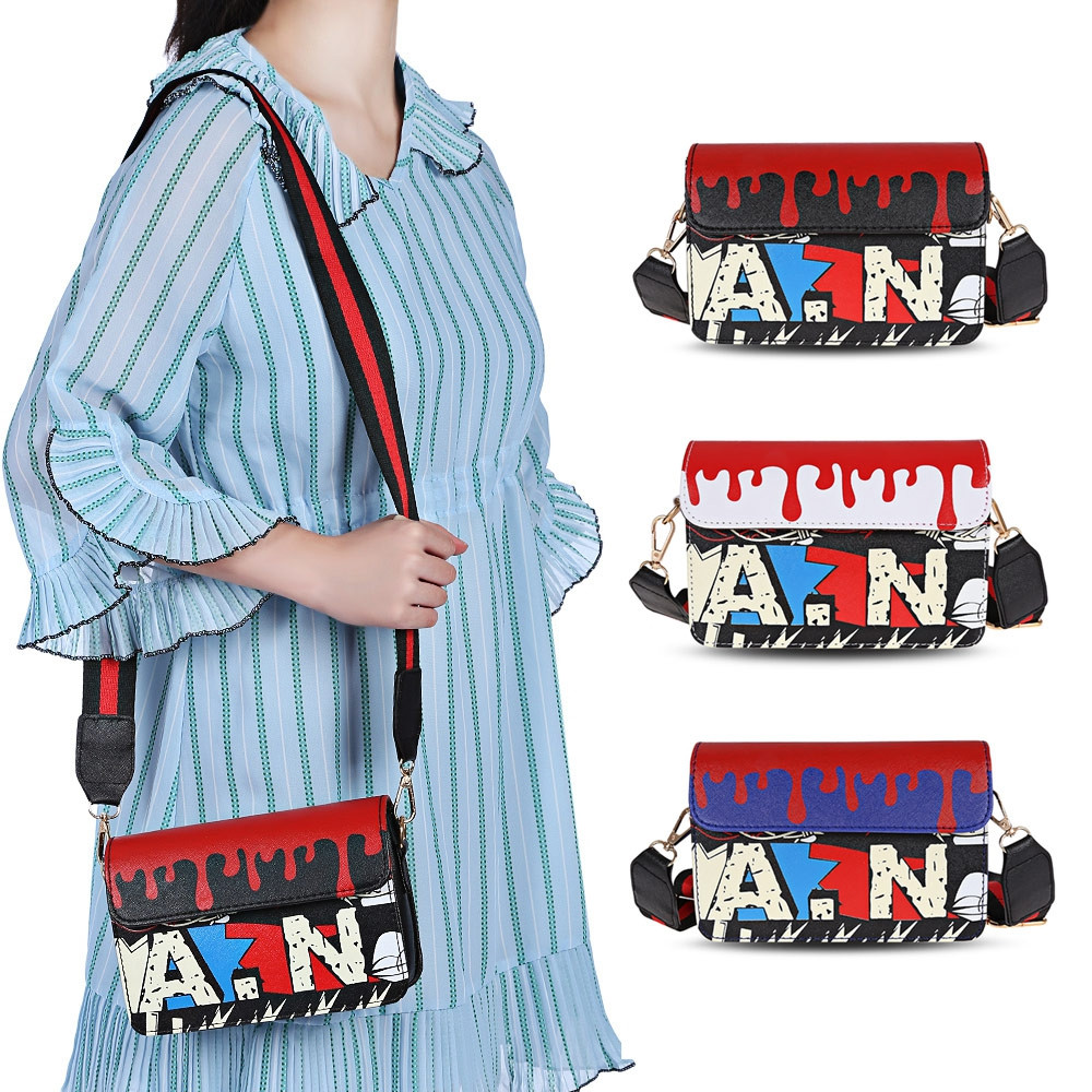 Guapabien Women Graffiti Clutch Crossbody Shoulder Bag BLUE