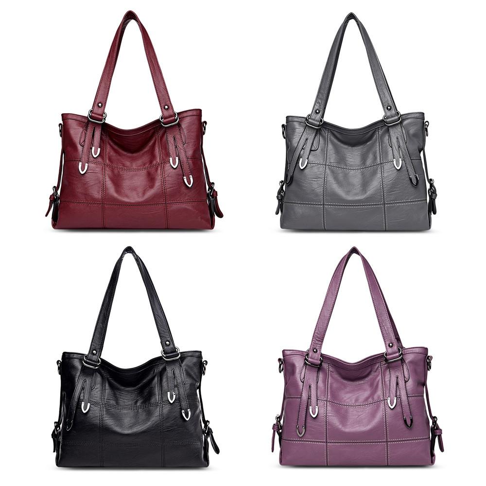 Guapabien Women PU Leather Shoulder Tote Bag Handbag WINE RED