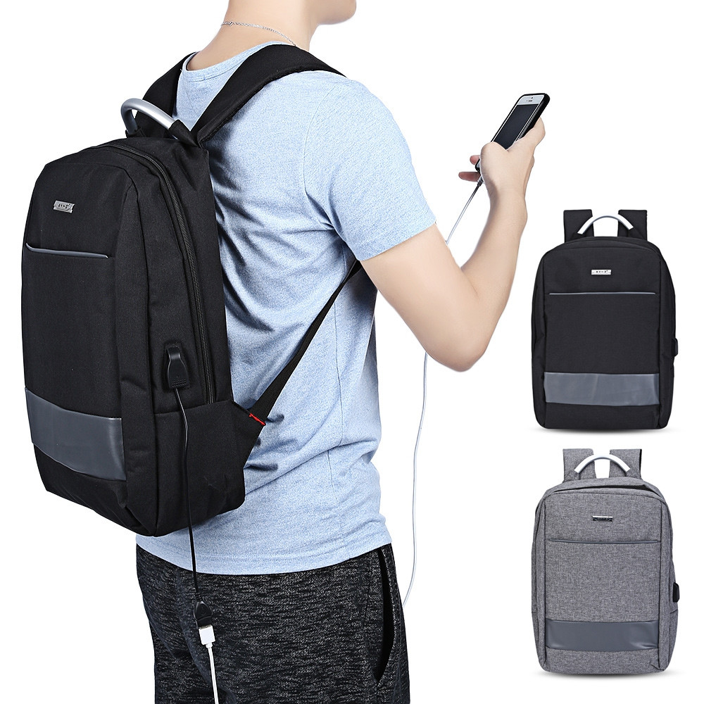 KY-Z USB Charge Port Business Backpack Travel Laptop Bag GRAY