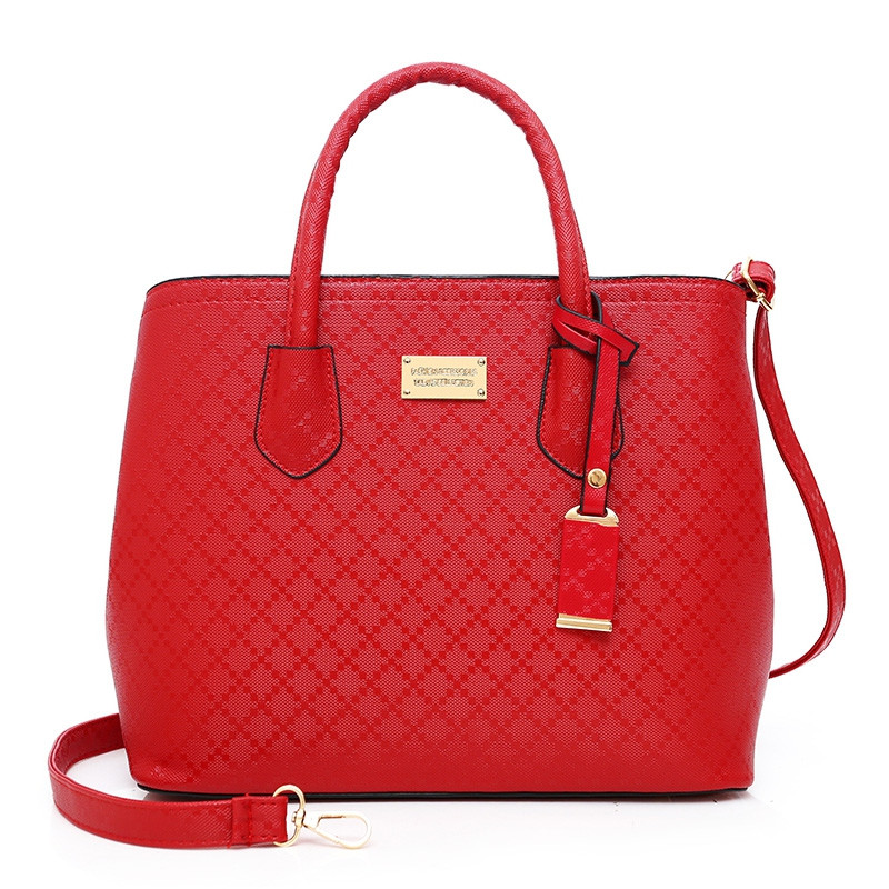 6 Pcs Argyle Pattern Handbag Set RED