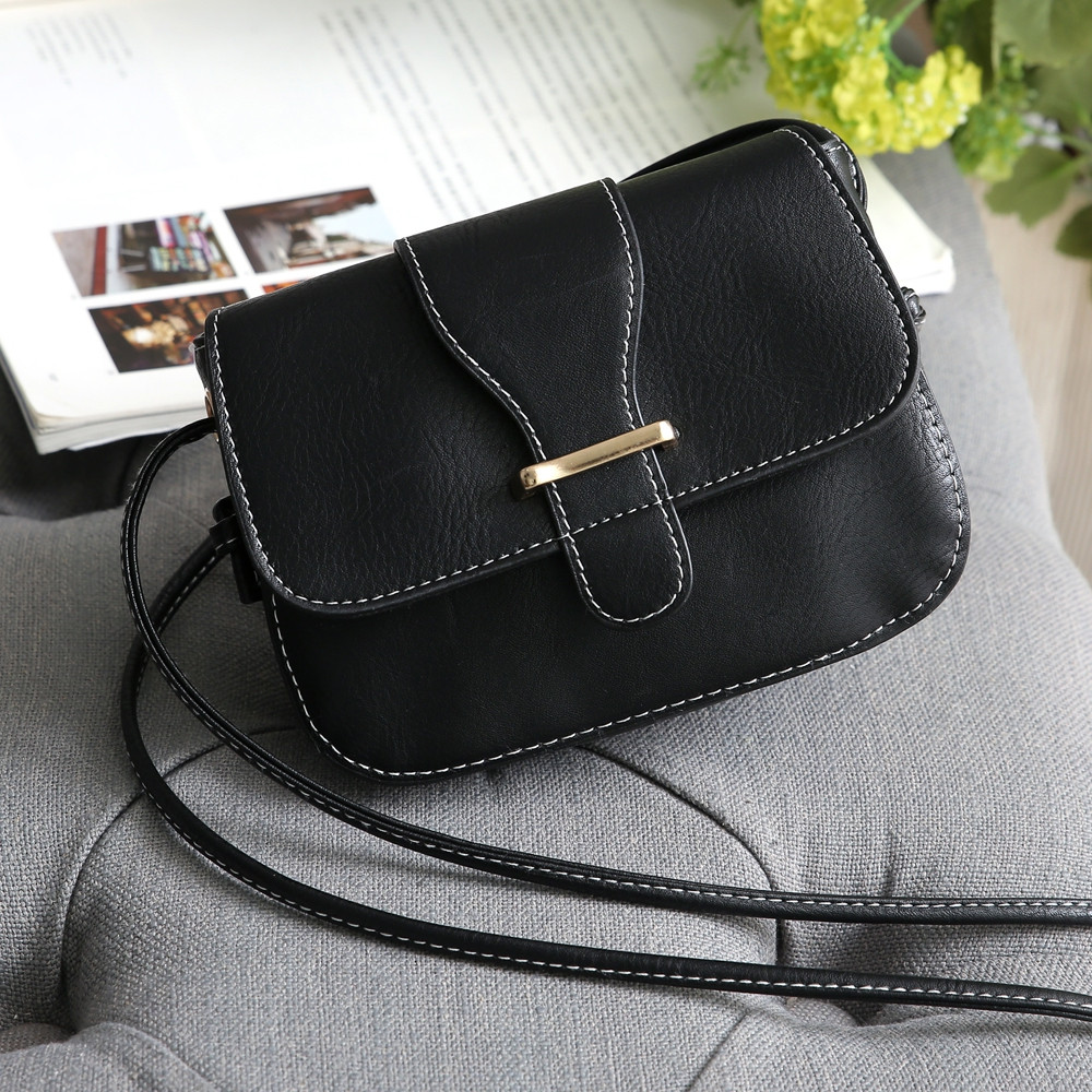 Solid Color Crossbody Bags BLACK 1PC