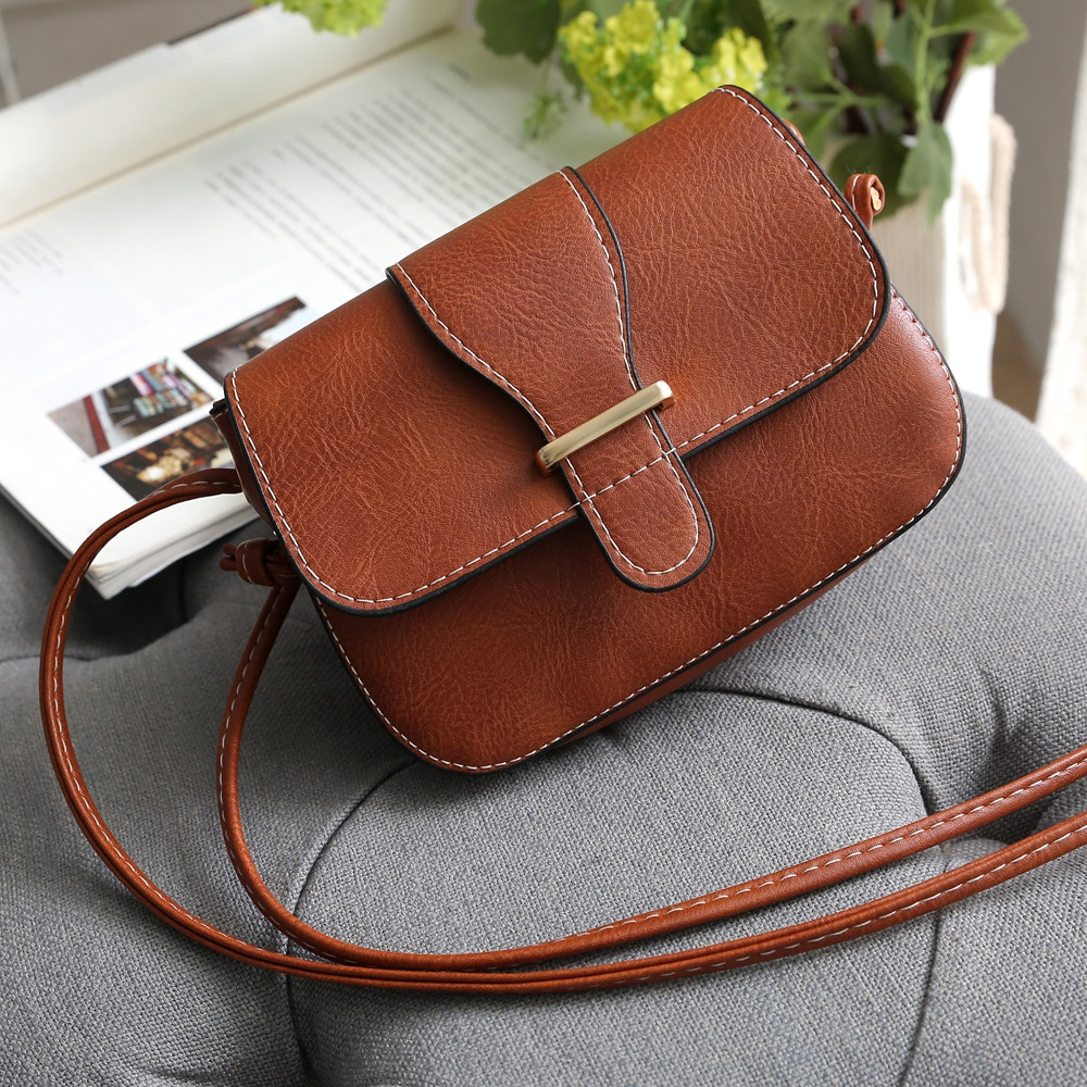 Solid Color Crossbody Bags BROWN 1PC