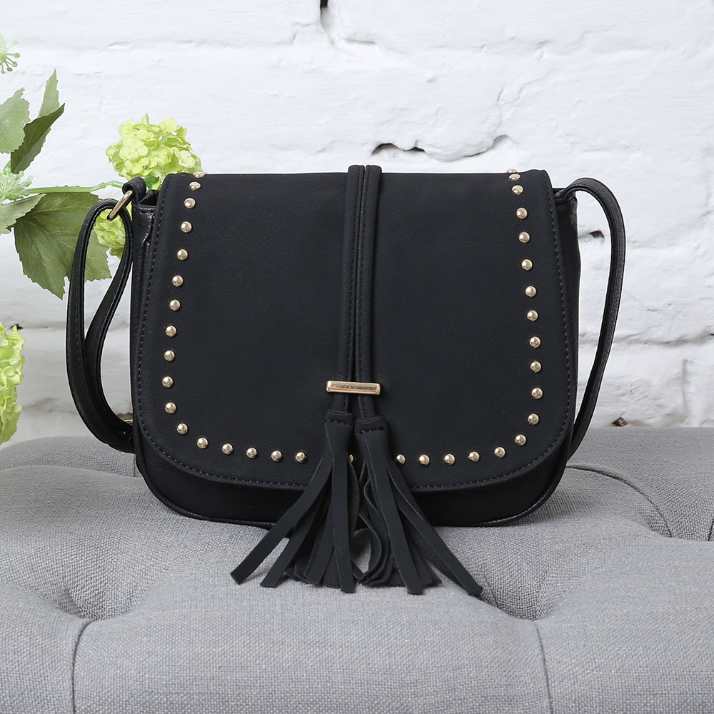Rivets Tassels Crossbody Bags BLACK 1PC