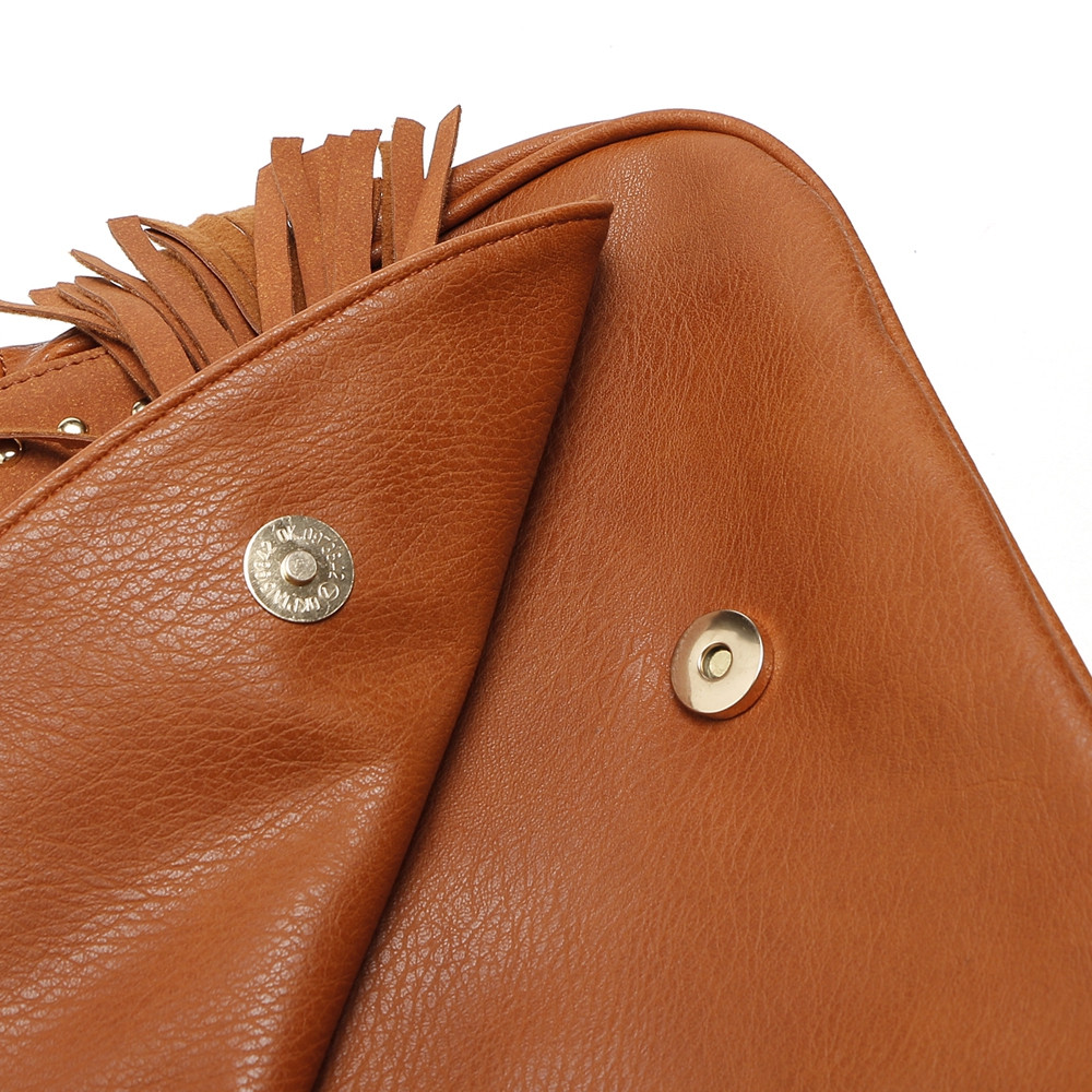 Rivets Tassels Crossbody Bags CAMEL 1PC